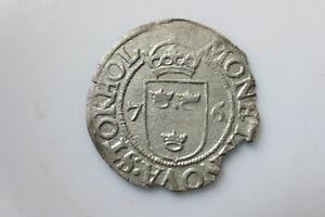 Sweden medieval silver coin, Johann III 1/2 öre 1576 Stockholm