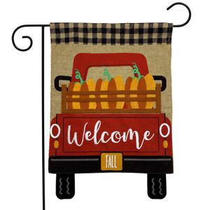 "Pumpkin Truck Burlap Fall Garden Flag Welcome Autumn 12.5"" x 18"" Briarwood Lane"