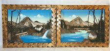 Japanese Natural BARK MOSS Picture Lot of 2 Vintage 3D Painted Landscape Japan
