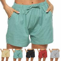 Womens Shorts Elastic Waist Summer Beach Casual Loose Yoga Fitness Hot Pants