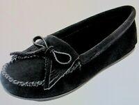 NEW Women's MINNETONKA Kilty Black Suede Flat Moccasin Shoes Size 10