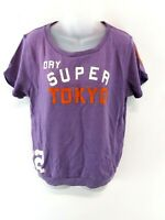 SUPERDRY Womens T Shirt Top L Large Purple Cotton & Polyester