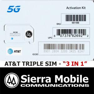 "50x AT&T 5G TRIPLE SIM CARD ""3 IN 1"" MINI  • MICRO • NANO 4G 5G  GSM LTE • LOT"