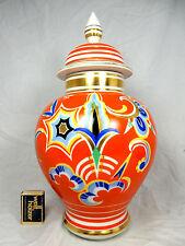 Handbemalte Art Déco Design ROLOFF  Porzellan Deckel Vase H. Hoepfel 35,5 cm
