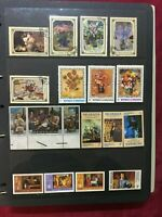 CAP19) Paintings on stamps. Lovely collection mint unhinged