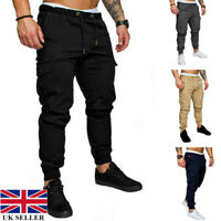 Men Cargo Military Gym Slim Fit Combat Camo Trousers Jogger Pants With Pocket UK