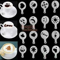 16Pcs Cappuccino Coffee Barista Stencils Template Strew Flowers Pad Duster Spray