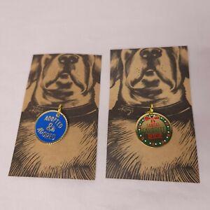 2 Lot Metal Enamel Dog Collar Charm Tag Adopted & Adored Santas Favorite Rescue