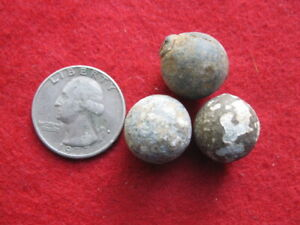 DETECTING FINDS REVOLUTIONARY WAR 3 LARGE MUSKET BALLS LOYALIST SITE