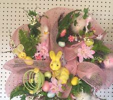 "22"" Easter or Spring Wreath Pastel Colors Bunnies Ducks Flowers Deco Wrap Flower"