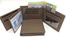 Mens Wallet w/17 Credit Cards Holder - Dark Crazy Horse Rustic Leather