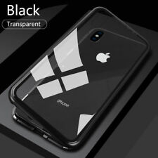 For iPhone XS MAX 7 8 Magnetic Adsorption Metal Flip Tempered Glass Case Cover