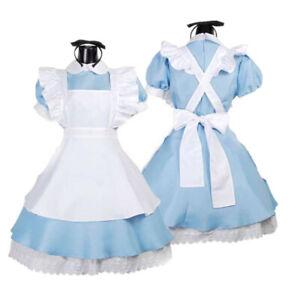 Adult Girl Alice in Wonderland Costume French Maid Lolita Dress Blue
