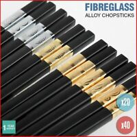 Alloy Chopsticks Fibreglass Set Bulk Black Premium Asian Japanese Gold Silver