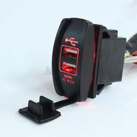 Car Truck Boat Red UTV LED 12V&24V Dual USB Charger Backlit Rocker Switch
