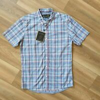 "merc London Short Sleeve Plaid/Check Shirt ""Helmstal T"" Small P2P 19"" Dust Blue"