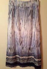 Chico's 0.5 Women's Full Length Lined Modest Long Boho Skirt Blue Summer Work