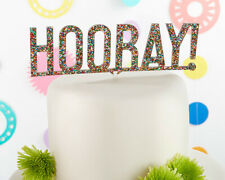 Hooray Multicolor Glitter Cake Topper - Wedding Birthday Party Shower Mw35637