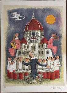Bonciani Adorno litografia Concerto in Piazza del Duomo  50x70 firmata su 150