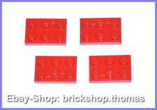 Lego 4 x Platte (2 x 3) - 3021 rot - Red Plate Plates - NEU / NEW