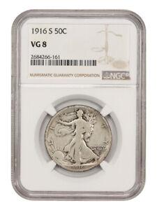1916-S 50c NGC VG-08 - Scarce Date - Walking Liberty Half Dollar - Scarce Date