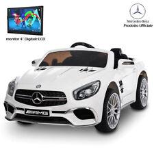Auto Macchina Elettrica per Bambini Mercedes SL65 AMG Bianco 12V con Monitor LCD