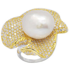 De Buman 28.56ctw  Pearl & CZ Solid  18K Yellow Gold & 925 Silver Ring  Size 7