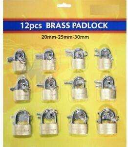 12X HIGH QUALITY BRASS PADLOCK PADLOCKS 20 25 30mm LUGGAGE LOCK BAG TRAVEL