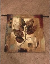 Fine Art Tapestries Leaf WAll Art Tapestry Burgundy Black Tan LNC