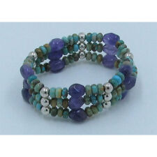 Triple Stack .925 Sterling Silver Green Turquoise Amethyst Stretch Bracelet