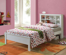 New Lisette White Finish Wood Youth Storage Bookcase Twin Bed