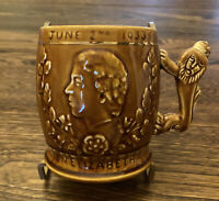 Arthur Wood Queen Elizabeth June 2nd 1953 Coronation Mug  Lion Handle England
