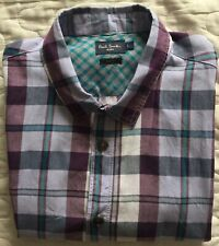 Paul Smith Jeans short sleeved luxury check shirt with shell buttons in L.
