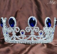 """Blue Sapphire Tiara Crown 3.5"""" Crystal Wedding Bridal Pageant Prom Party Costume"""