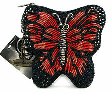 Mary Frances Red Monarch Butterfly Beaded Bag Coin Purse Key Chain 5x5 NWT