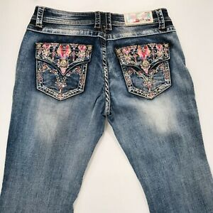 Grace In LA Boot Cut Embellished Embroidered Women's Denim Blue Jeans 30 X 32