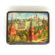 "Fedoskino decoupage C79 Lacquer box box /""Bolshoi theatre/"" Moscow architecture"