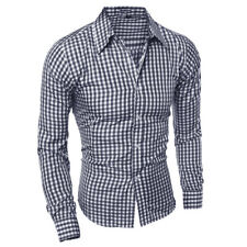 Men's Long Sleeve Button Down T-shirt Tops Slim Fit Gingham Casual Dress Shirts