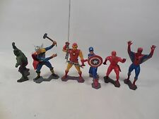 SET OF 6 VINTAGE MARX MARVEL COMICS FIGURE THOR CAPTAIN AMERICA SPIDER-MAN 1967