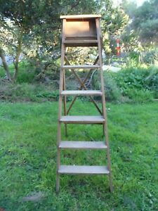 HARDWOOD VINTAGE RETRO LADDER Handmade, strong, could use as display 165 cm high