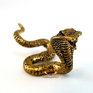 10x Powerful King Cobra Miniature Brass Thai Amulet Protect Safety Wealth Lucky