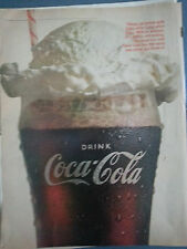 1966 Coca Cola Coke Ice cream Vanilla Float Straw Original Print Ad