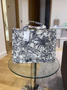 H&M Jacquard-Weave Handbag Tote Bag Cream/black Patterned 🦜 Sold Out ❤️ Limited