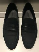 LANVIN Paris Midnight Blue Suede Penny Loafers - Mens Size 12 - Made in Italy