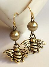 Gold Pearl Bumble Bee Earrings Bea Pierced Insect Queen Dangle Plated USA Seller