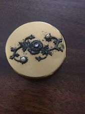 Vintage GOLD TONE Portable Travel Pill Box & Collapsible Cup Marble Swirl Pearls