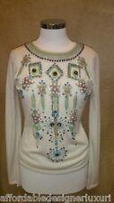 Naeem Khan Embellished Cashmere Sweater, Size L, Retail $1990