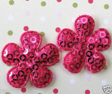 """50 x 1"""" Hot Pink Padded Sequined Felt Flower Appliques/Shiny for Bow/Card ST506H"""