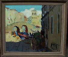 Expressive Venedigszene, unleserlich signiert, verso Dedikation mit Datum 1955