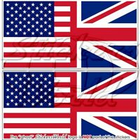 "USA United States America & UK Flag Bumper Stickers-Decals 75mm(3"") x2"